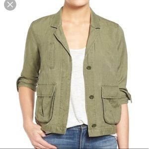 Madewell Olive Green Linen League cargo jacket